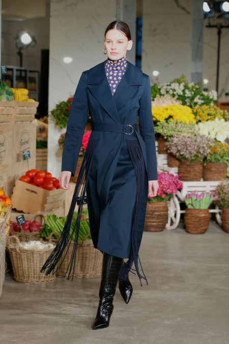 Dark blue trenchcoat with long fringes