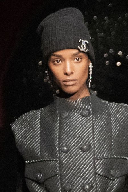 Black Knit Hat with Chanel Badge Brooch