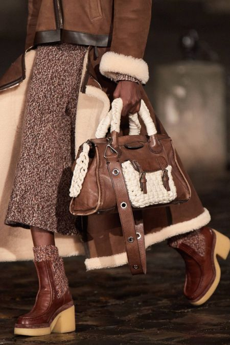 Brown braided trapeze bag