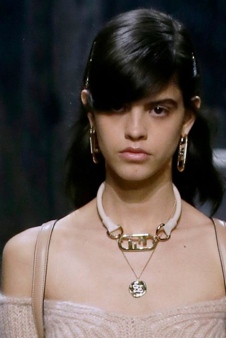 Fendi logo neck and earrings