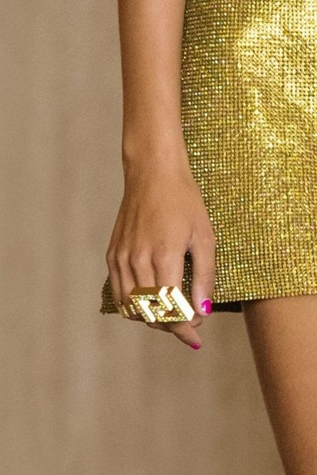 Versace signature meander ring