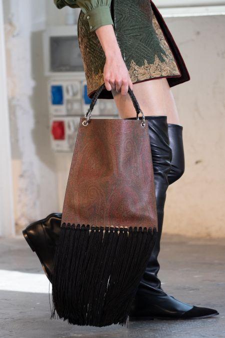Brown long black fringe shopping bag