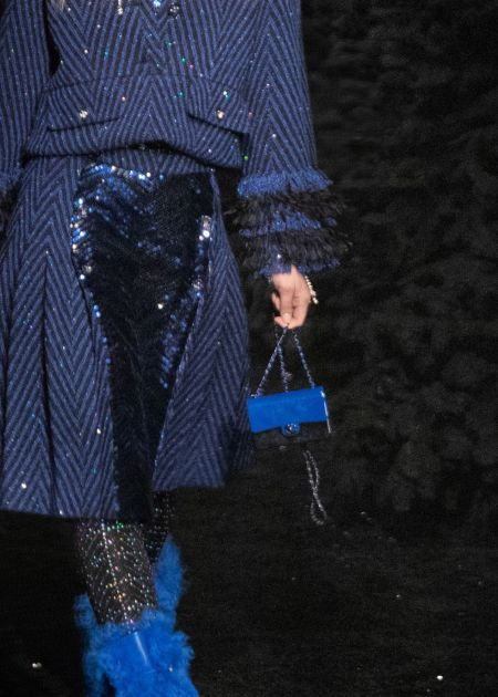 Mini Blue Long Chain Bag