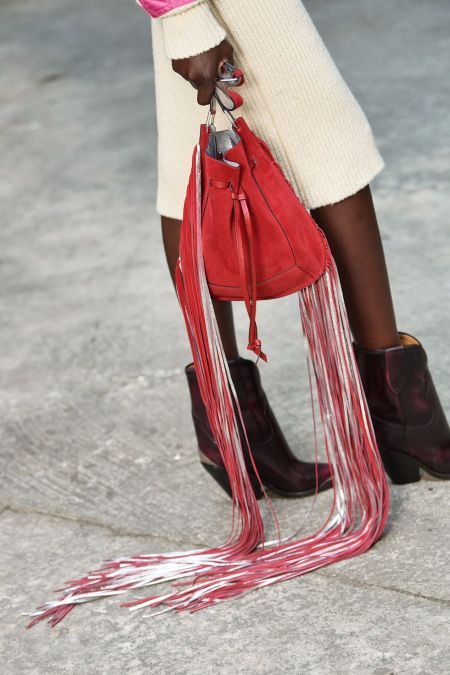 Red long fringe pouch bag