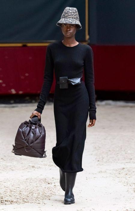 Padded black backpack with wide belt