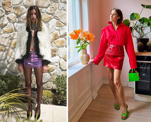 Mini skirts - an element of the look in the style of the glamorous two thousandth