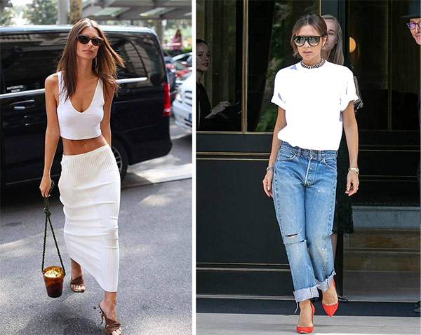 Low-rise jeans or skirts