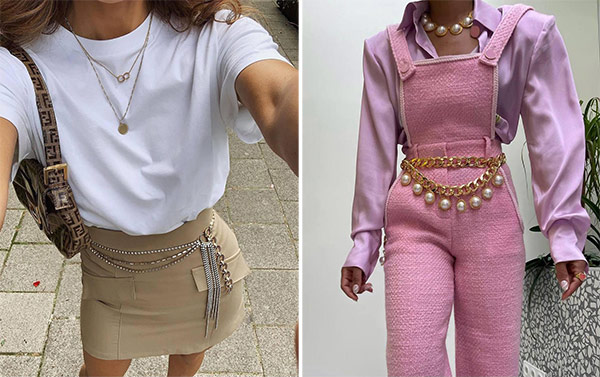 2000s clothing style element - belts and chains