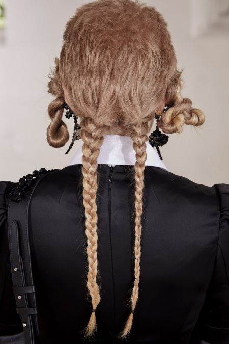 Hairstyle with pigtails from the Simone Rocha collection