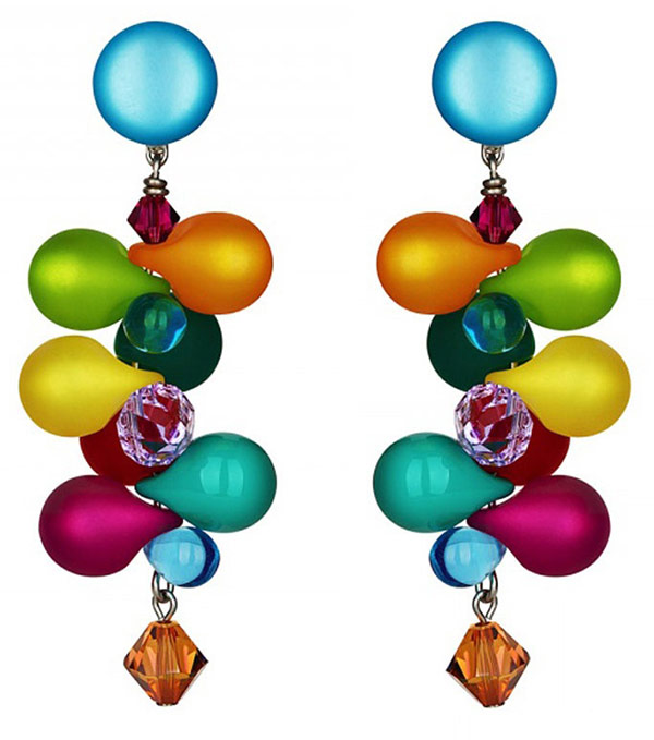 Earrings made of Venetian glass and crystals will bring brightness to your everyday life