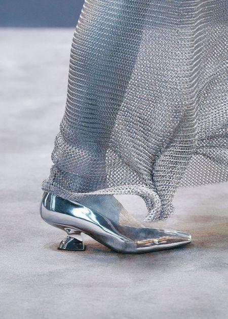 Salvatore Ferragamo Silver Pointed Toe Shoes