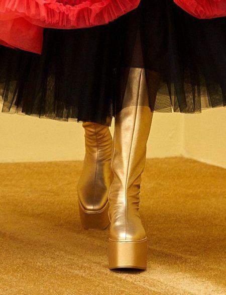 Gold platform boots