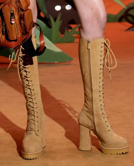 Moschino Beige Lace Up Knee High Boots