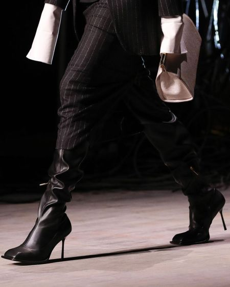 Black slouchy square toe boots