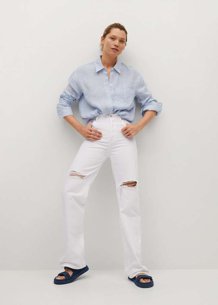 What to wear with white jeans: stylish bows on the note photo # 5