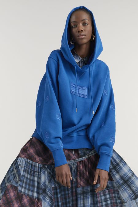 Blue sweatshirt with a hood.  Tommy Hilfiger Fall Winter 2021-022 Collection