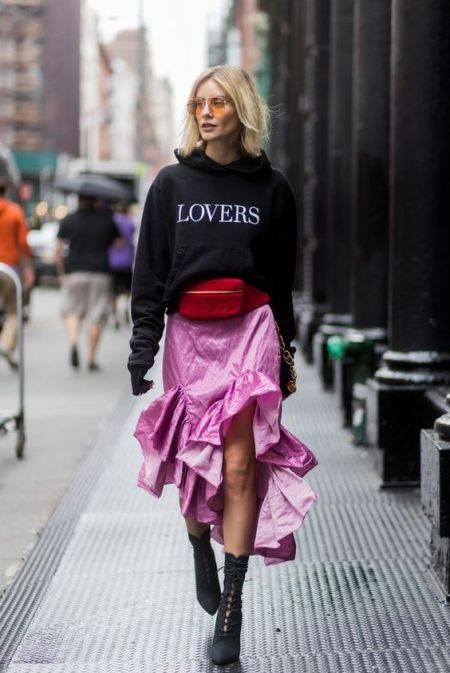 Lovers slogan hoodie, pink skirt and lace-up boots