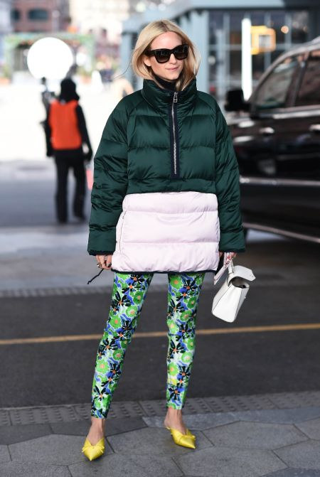 Floral leggings, puffy jacket and pointed toe shoes