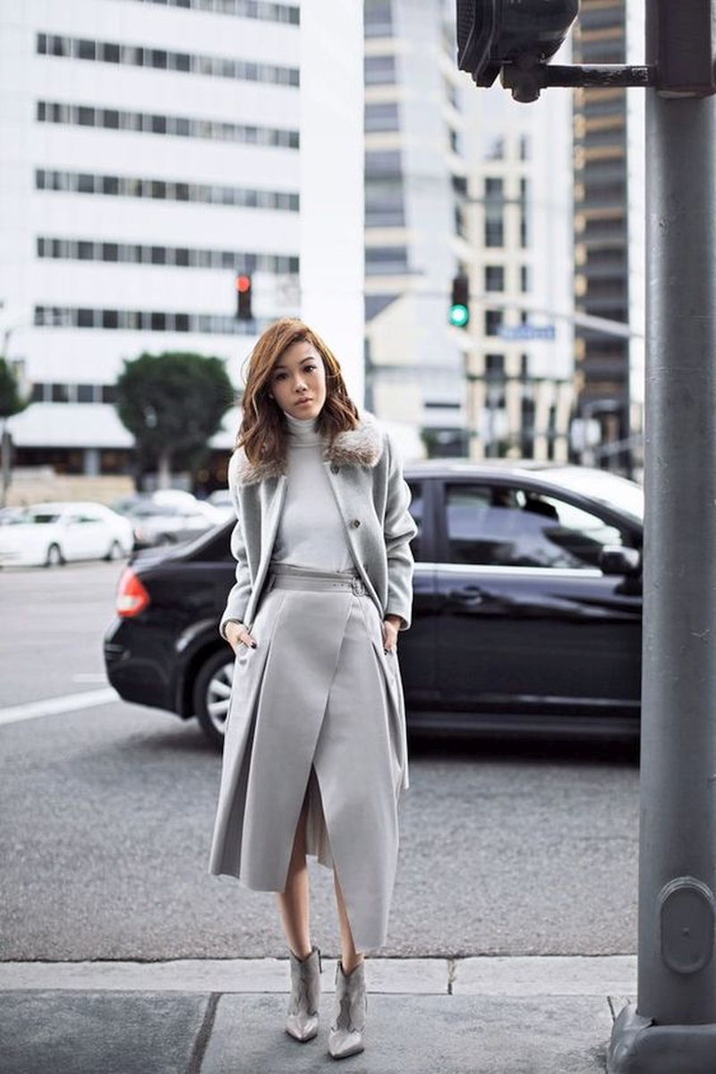 monochrome look with a stylish skirt