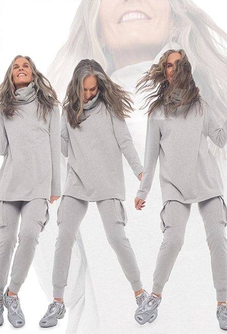 Tracksuits in gray from Norma Kamali FW 2021-2022