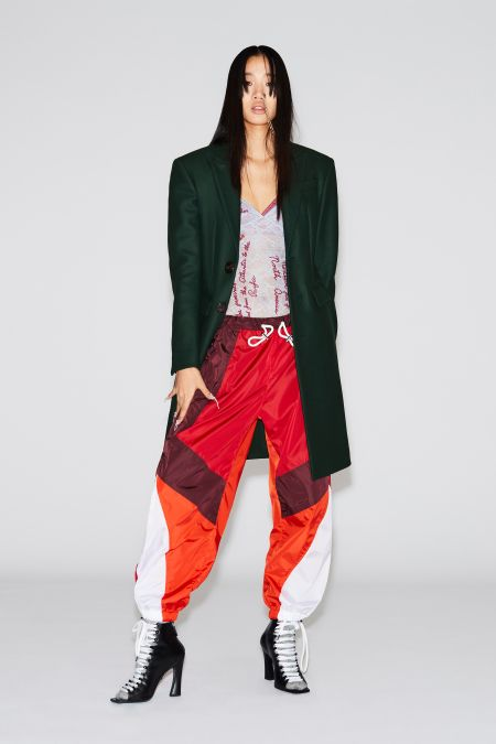 Multicolored sweatpants, high heels and a long jacket.  DSquared2 Look