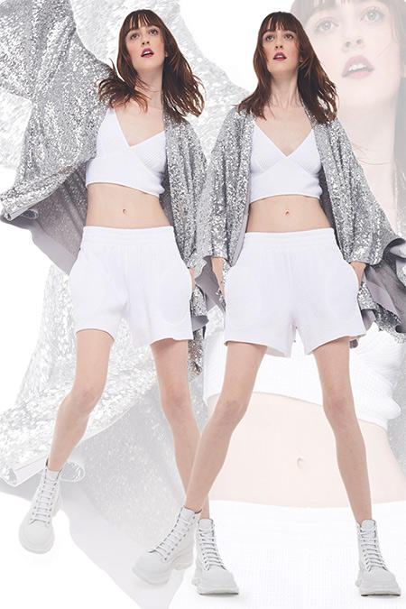 Norma Kamali Metallic Shorts, Crop Top & Oversized Jacket 2021-2022