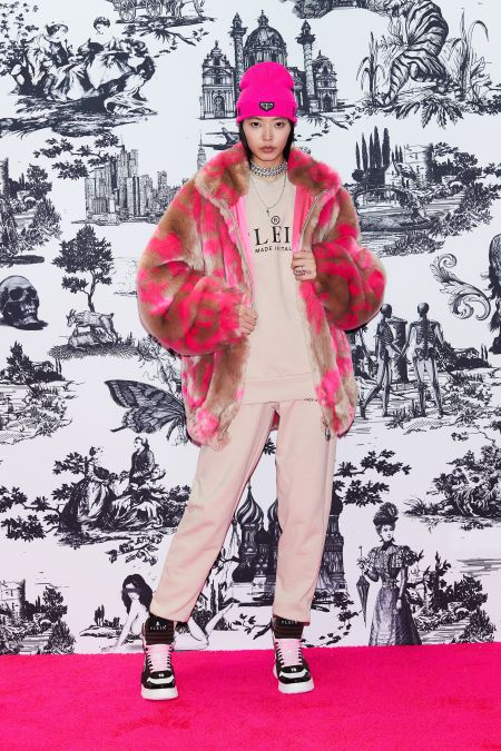 Pink tracksuit.  Look from the Philipp Plein collection
