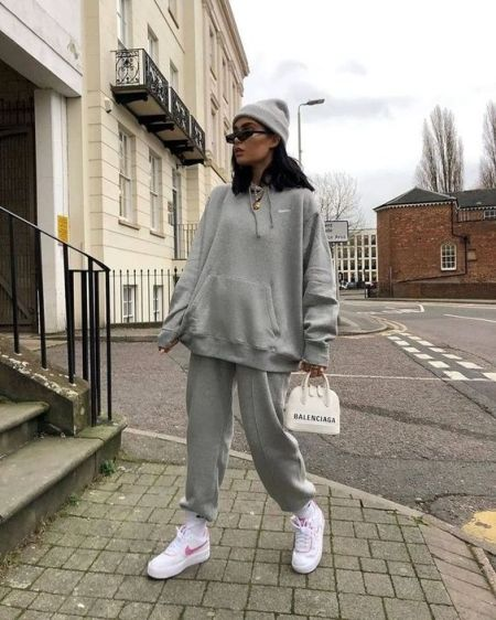 Balenciaga Gray Knit Suit, White Sneakers, Hat and Bag