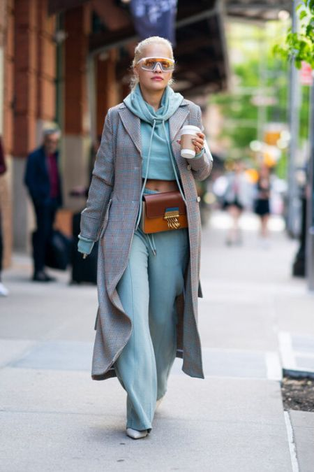 Turquoise Knit Suit, Pointed Toe Shoes and Cloak