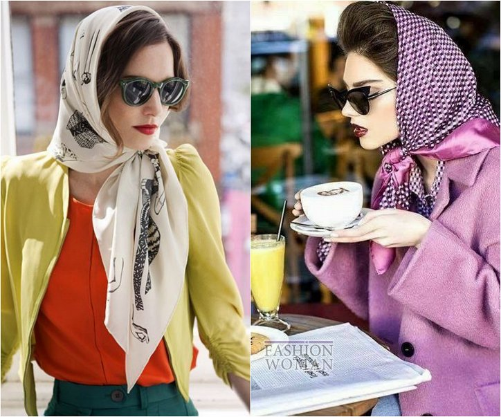 How beautiful to wear a scarf - stylish ideas for a note photo # 14