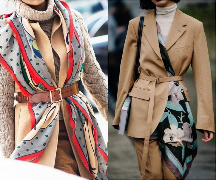 How beautiful to wear a scarf - stylish ideas for a note photo # 18