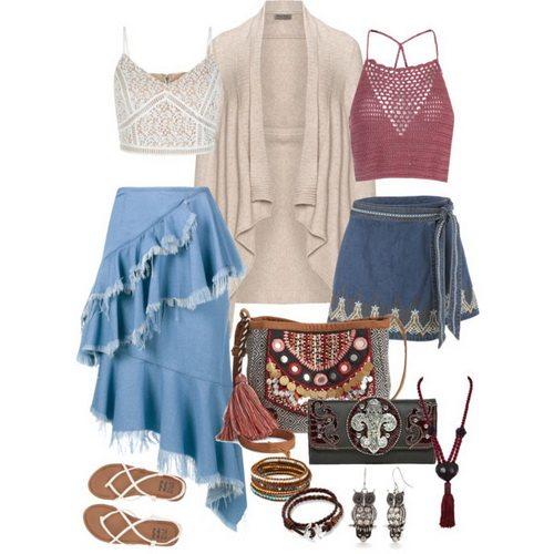 Boho Style and Denim Skirt looks