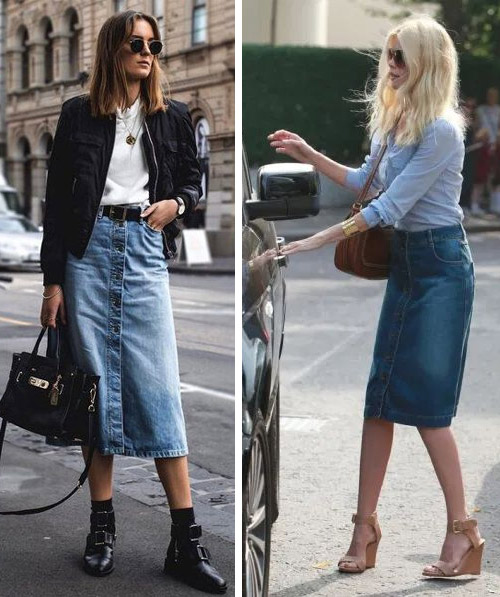 Looks with a denim skirt for fall and spring