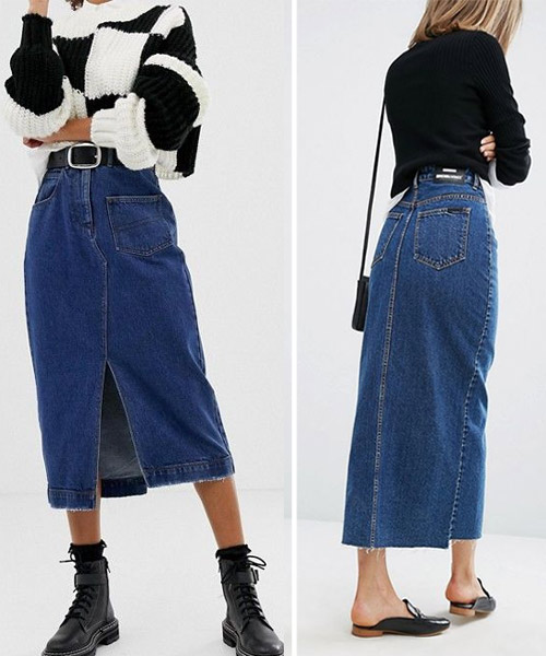 Denim skirt combined with a sweater
