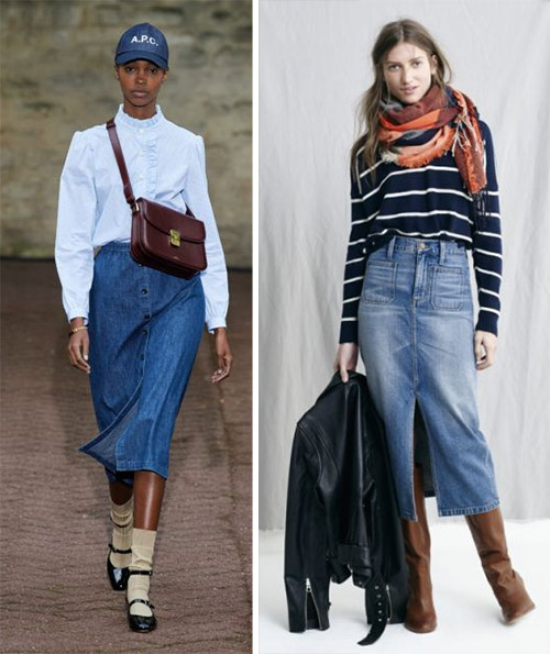 Denim skirt combined with a shirt / sweater