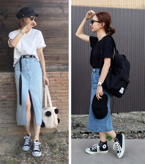 Denim skirts and sneakers