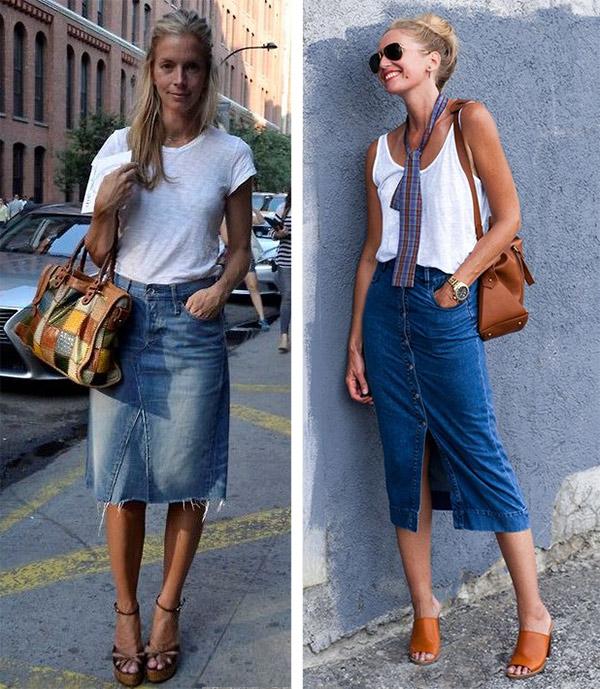 Denim skirt in summer: what to wear