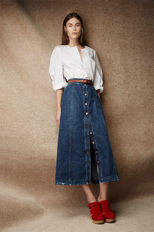 Denim skirt combined with a blouse