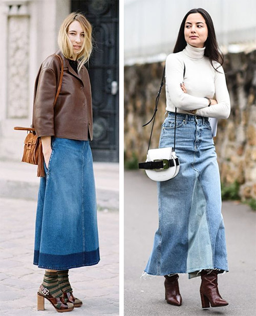 Images for autumn and spring.  Denim skirt