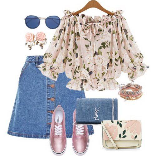 Short denim skirt with romantic blouse