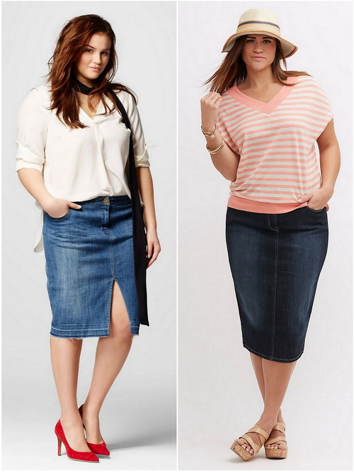 Girls of appetizing forms will be good in a denim pencil skirt
