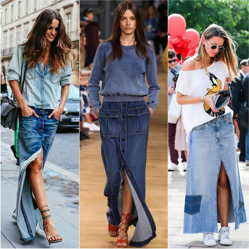 Long denim skirt with cutout or buttons