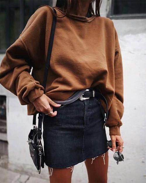 Denim short skirt and sweatshirt