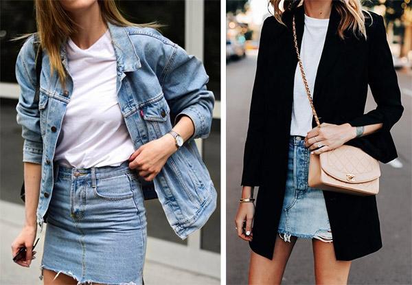 Denim mini skirt combined with a jacket / blazer