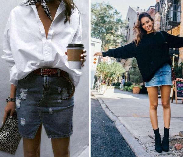 Short denim skirt combined with a shirt / sweater