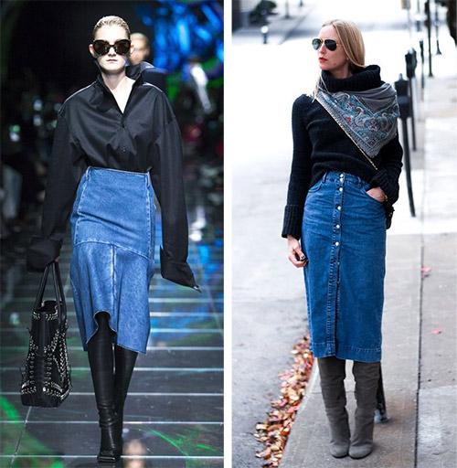 Denim Skirt and Black Sweater looks