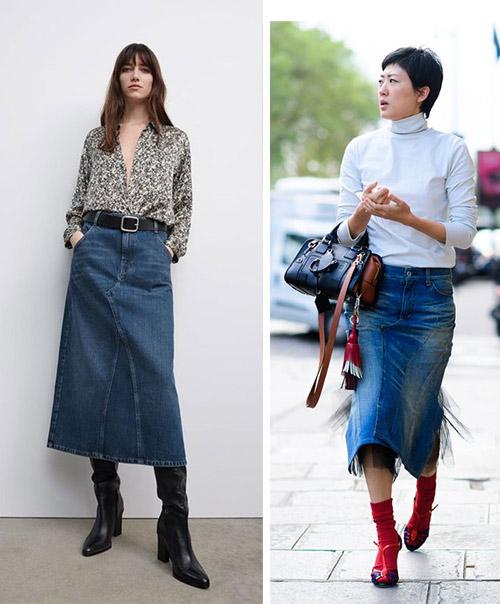 A line skirt and denim pencil skirt